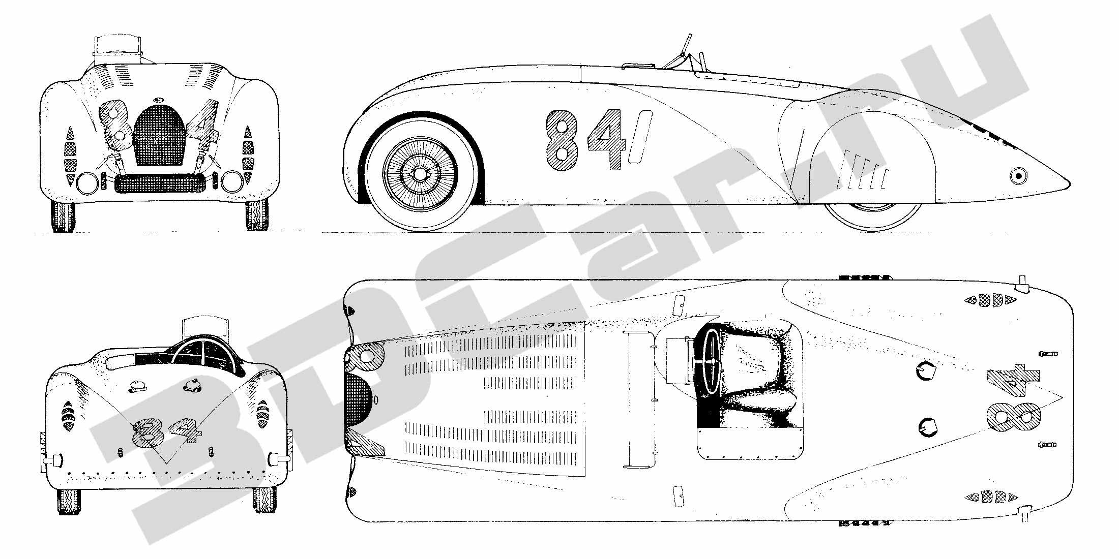 Скачать чертеж bugatti t 57 s 1936 2200x1100