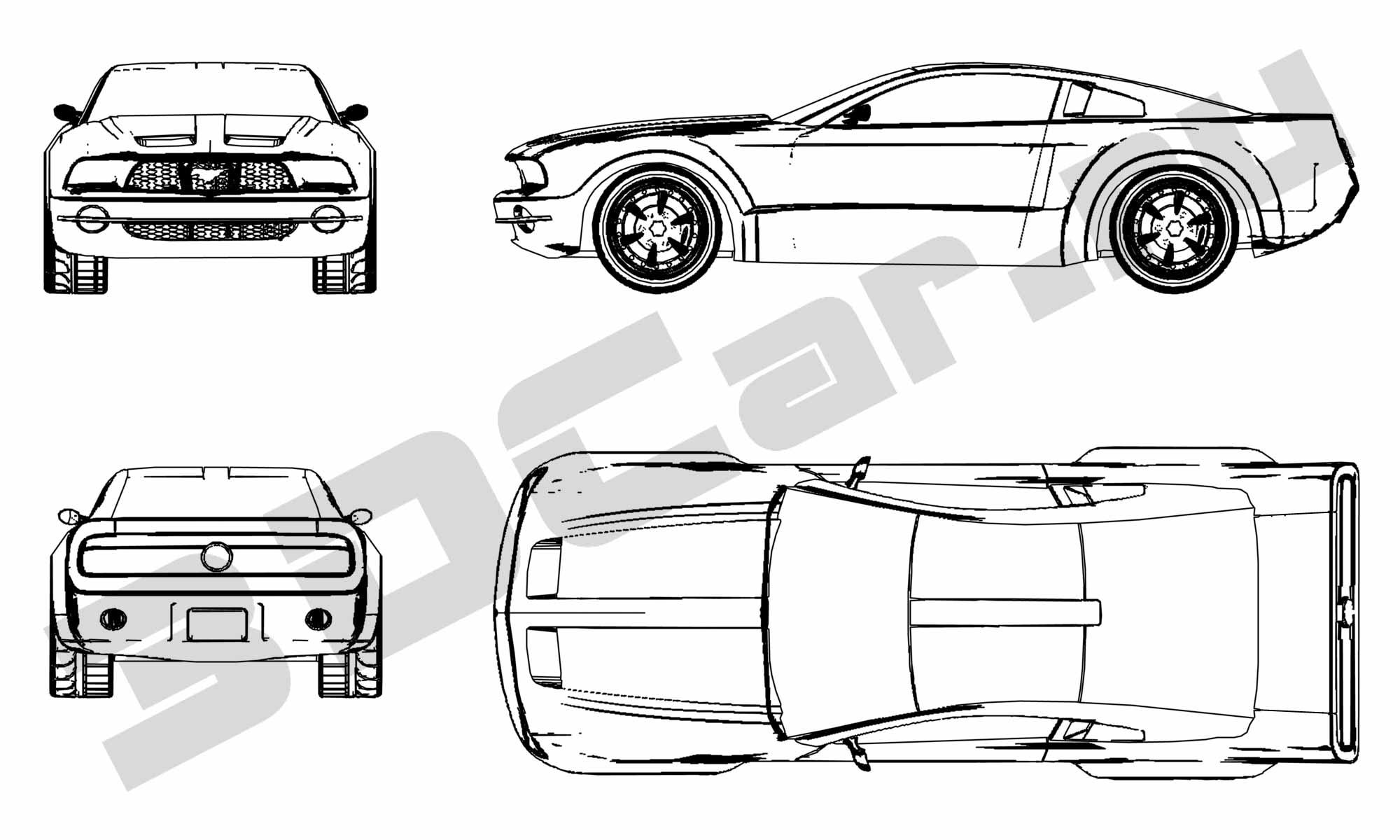 Car Blueprints / Чертежи автомобилей - Ford